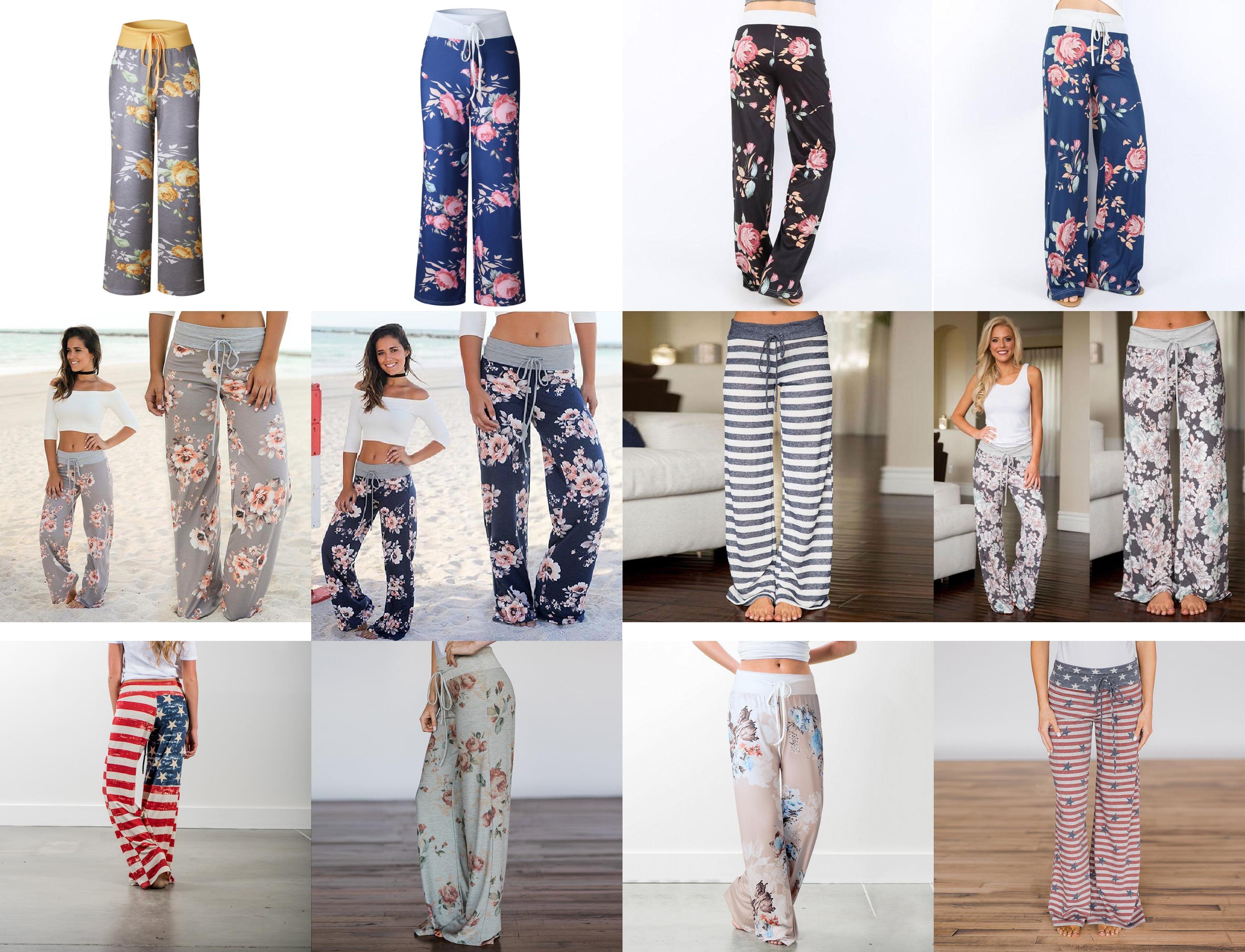 Loose Women Pantaloni stampa floreale con coulisse Casual pantaloni larghi del piedino pantaloni lunghi Pantaloni sportivi Grande più il formato S-3XL