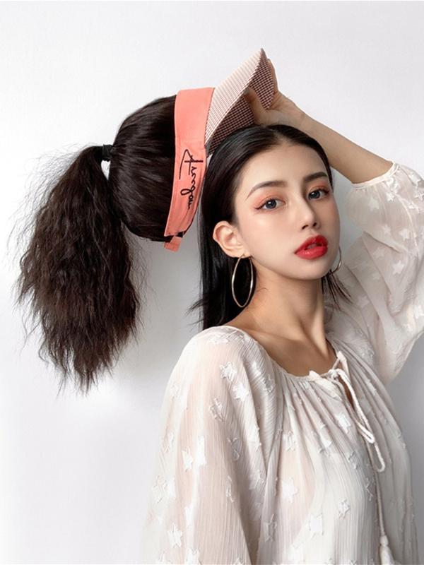Новый стиль летних шляп для женщин Наращивание волос Tie-фигурных крышкам волос Sunhat шиньон с Sun