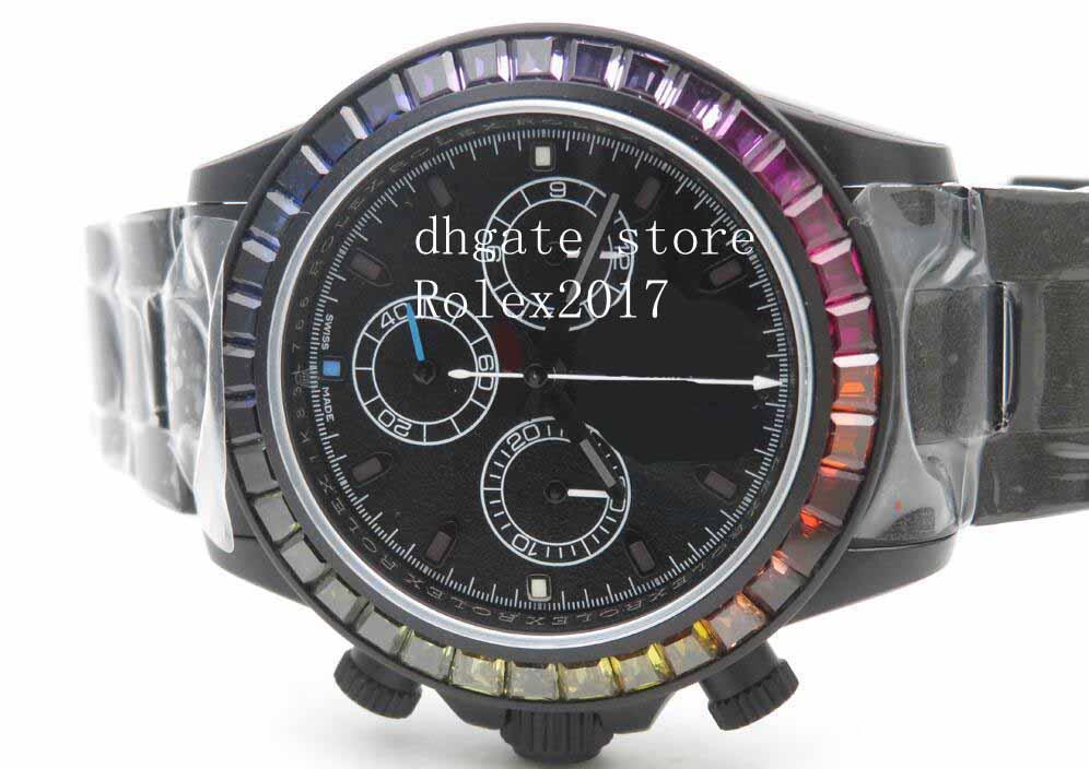 رجالي الجودة التلقائي كرونوغراف TWF Factory Blaken Rainbow Edition Black Dial DLC المغلفة الصلبة الفولاذ المقاوم للصدأ رجل ووتش الساعات