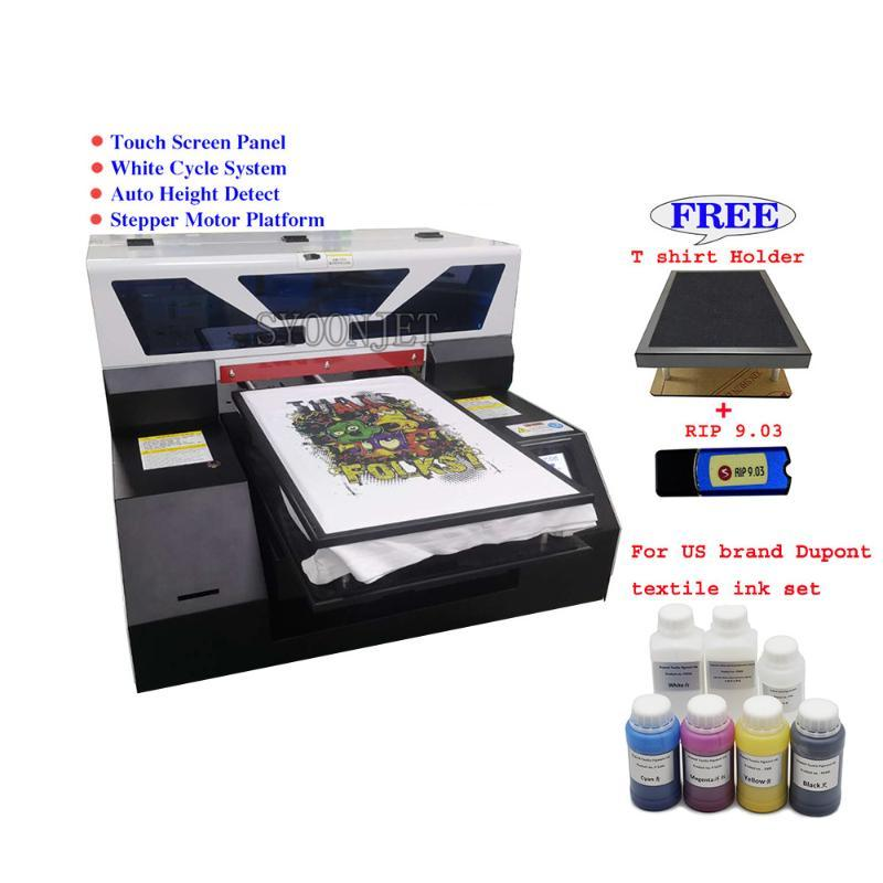 Automatic dtg 8 colors DX5 A3 T shirt printer Touch screen Jeans textile dark fabric print machine