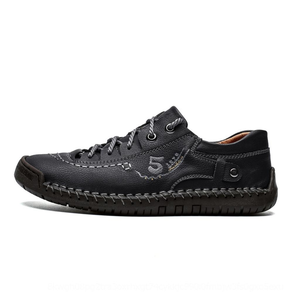 Tamanho grande macacão 9931 homens mola outdoor sapatos casuais superfície de couro de costura sola plana de baixo-top feitos à mão macacões sapatos de couro F5nmo