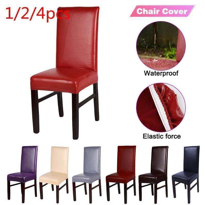 1 2 4pcs Jantar capas de cadeira Sólidos PU de couro impermeável e Oilproof estiramento Jantar Cadeira Coberta Slipcover para casa decorativa
