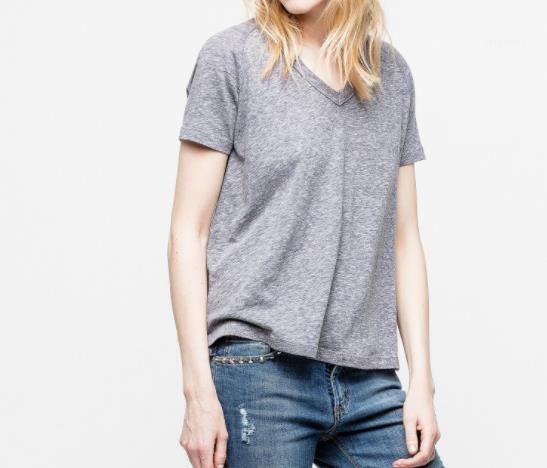 Camiseta de manga corta Tops te floja Mujer Ropa verano de las mujeres del color puro Volver Rhinestone T Shirts diseñador de las señoras cuello en V