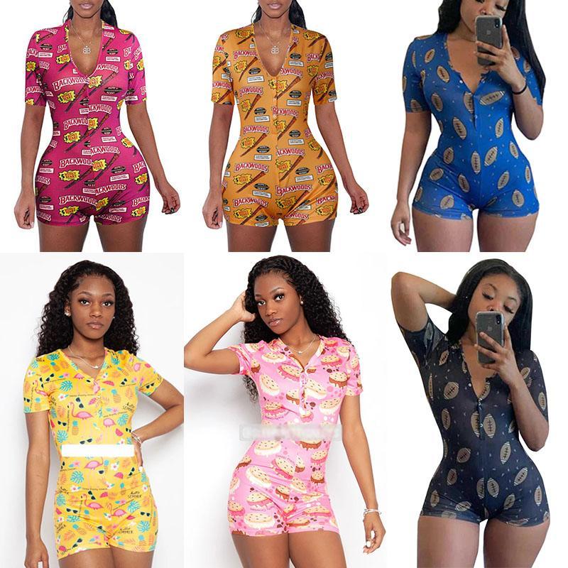 Women Jumpsuits Summer Shorts Sleeve Sexy Rompers V Neck Playsuits Ladies Pajama Onesies Nightwear Print Skinny Jumpsuit 25 Colors 050821