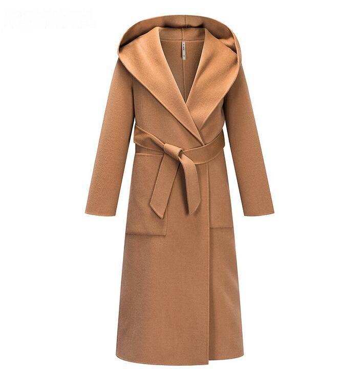 بيع الساخنة في فصل الشتاء اليدوية على الوجهين الصوفية النساء معطف منتصف طول لون الجمل معطف مقنعين