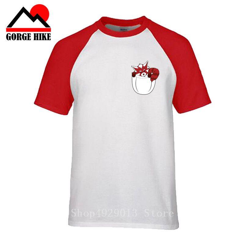 manera de la novedad del mapache hombres divertidos del bolsillo de la camiseta de la impresión de la panda roja Diseño camiseta ocasional de la historieta encabeza Harajuku masculina camiseta