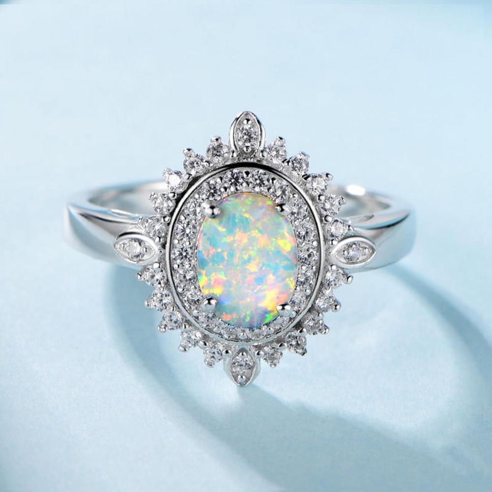 Vente chaude Argent 925 Blanc Opale de feu Bague de fiançailles de mariage pour les femmes de cadeau