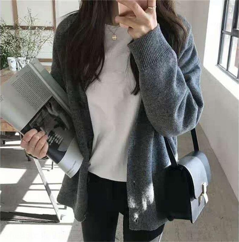 Escudo de Corea del suéter de la chaqueta de punto de otoño de las mujeres de moda 2020 nueva adelgazamiento del V-cuello de las mujeres suéter de la capa de gran tamaño