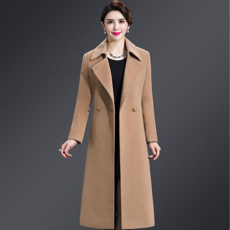 Женская шерстяная смесь 2021 осень зима мода шерстяное пальто женское большой размер 5XL с длинным рукавом женские пальто высокого качества дамы кашемир