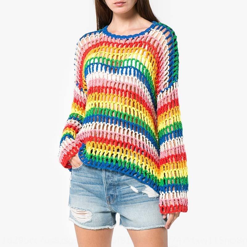 arco iris de tejido a mano rayado largo y corto 2019 primavera y otoño suéter flojo suéter hueco