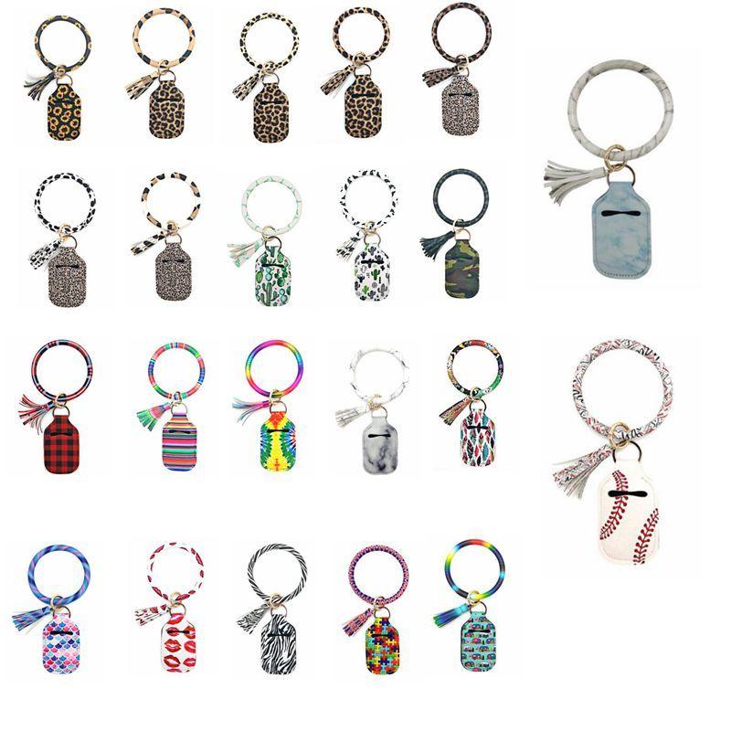 Bracelet Keychain Bags Hand Sanitizer PU Bottle Holder Tassel Key Rings Hand Soap Bottle Cover Printed Chapstick Holder Party Favor AAB1140