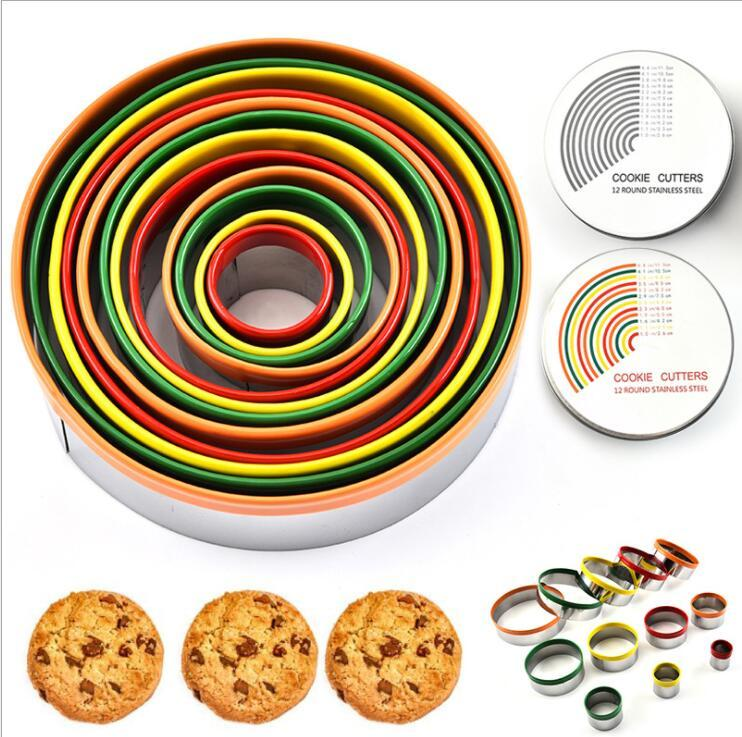 Egg Mold Colorful Stainless Steel Biscuit Cutting Set Round Shape Cutting Molds Mousse Cake Biscuit Donuts Cutter Kitchen Tools DWA831