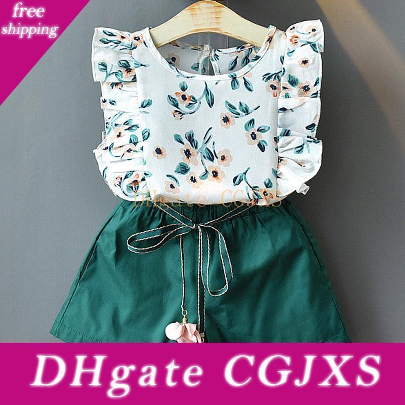 2019 New Girls Estabelece Novo Primavera-Verão Floral Crianças mangas T -shirt + Shorts sólidos 2pcs Crianças Suit Moda 3 -7t Roupa Crianças