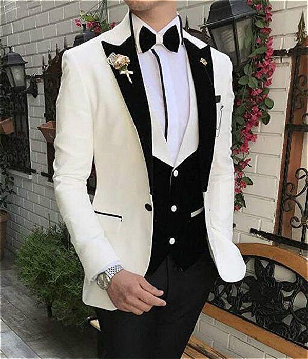 New Casual White Men Suits Prom Tuxedos Slim Fit 3 Pieces Peak Lapel Blazer Jacket Vest Pants for Wedding Groomsmen Custom Made