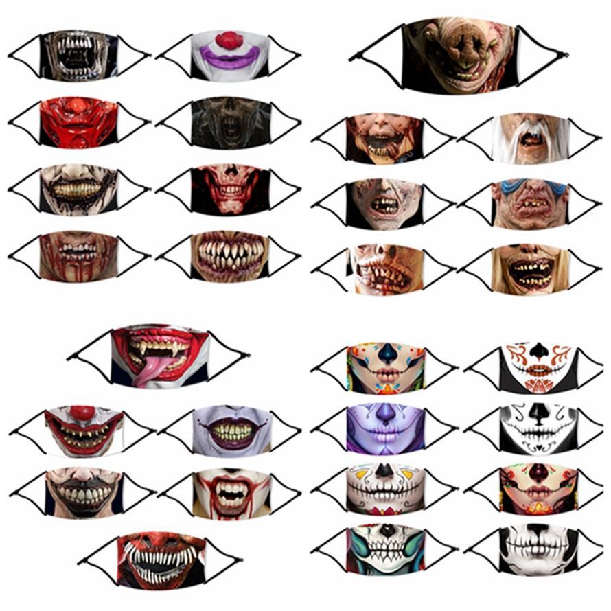 Maschere per il viso di Halloween maschera di ghiaccio in seta stampa 3D Skull Spaventoso Maschera riutilizzabile lavabile antipolvere bocca per Party masquerad HHA1505