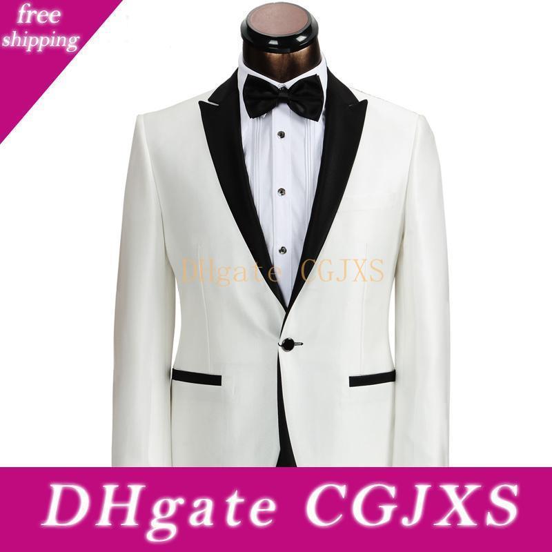 Черно-белое свадебное Groom смокинги для бизнеса Мужские костюмы 2018. Классический стиль двух частей одна кнопка куртка брюки жилет
