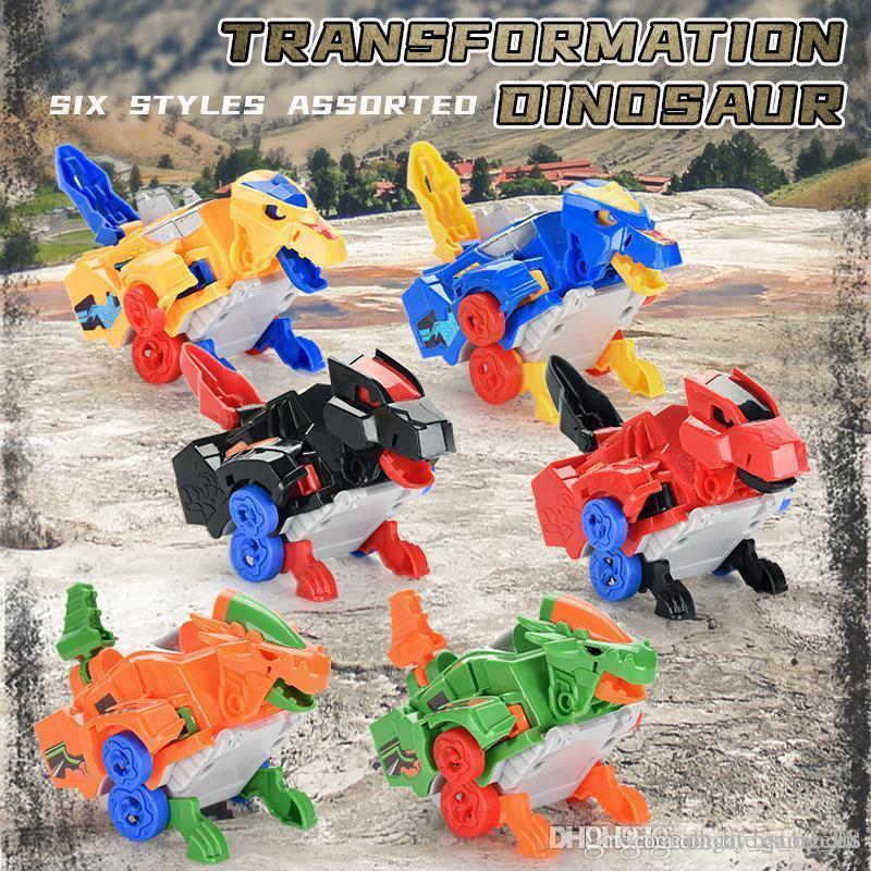 6styles transformação sortidas dinossauro carro 2-em-1 projeto da forma legal de animação para o menino crianças gag cartoon brinquedos 01
