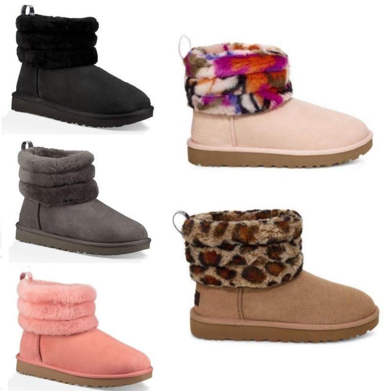 ugg women men kids uggs slippers furry boots slides cheville courte demi-Bow Fur Designer pour garder au chaud l'hiver Chaussures plate-forme courte botte de filles australiennes