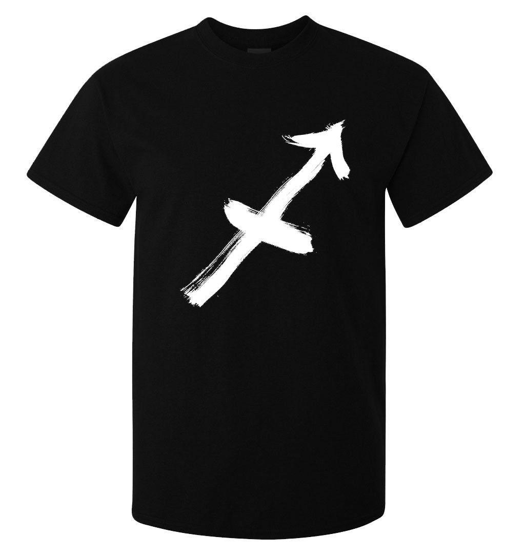 Schütze-Tierkreis-Zeichen-Logo-Kunst der Männer (Frau verfügbar) T-Shirt schwarz