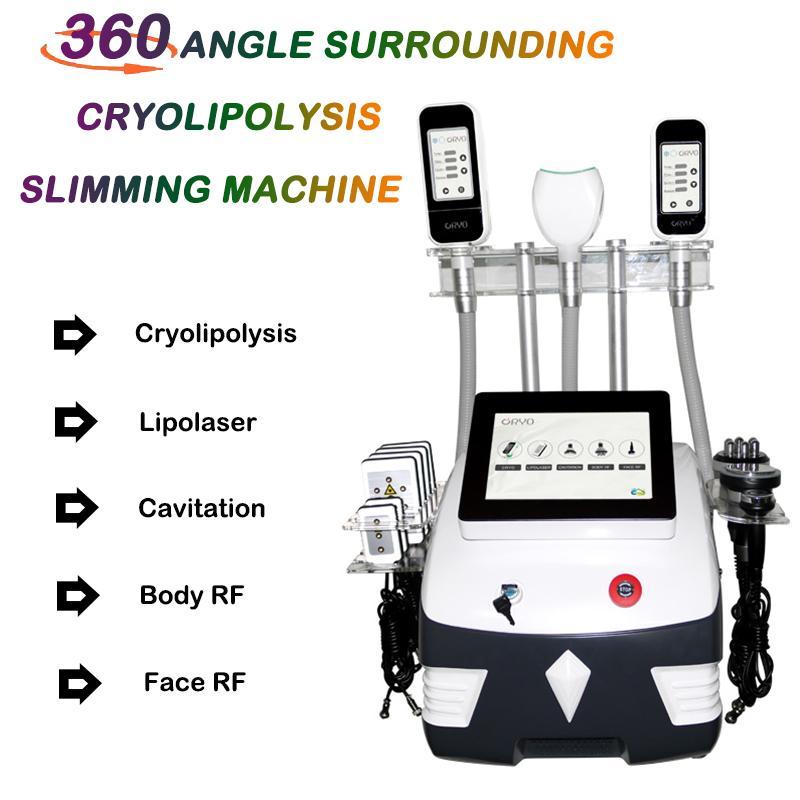 Cryolipolysis Free Freeze Máquina delgada 360 Grados Más Reciente Máquina congelación de grasa Lipo Láser Cavitación Ultrasónica RF Slimming Beauty Machine