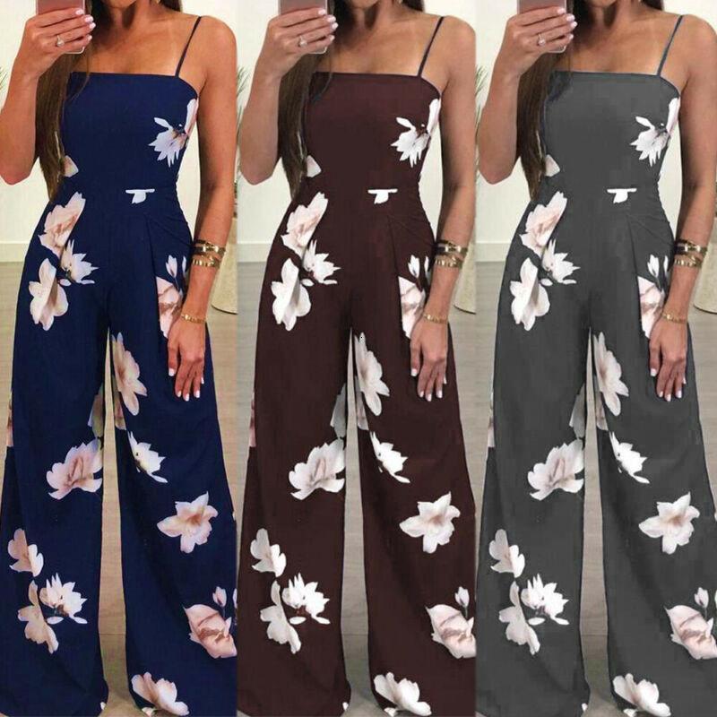 Yeni Bayan tulum Romper Tulum Bayanlar Kolsuz Casual Çiçek Baskı Kolsuz Moda Jumpsuit 2020 Sıcak Artı boyutu
