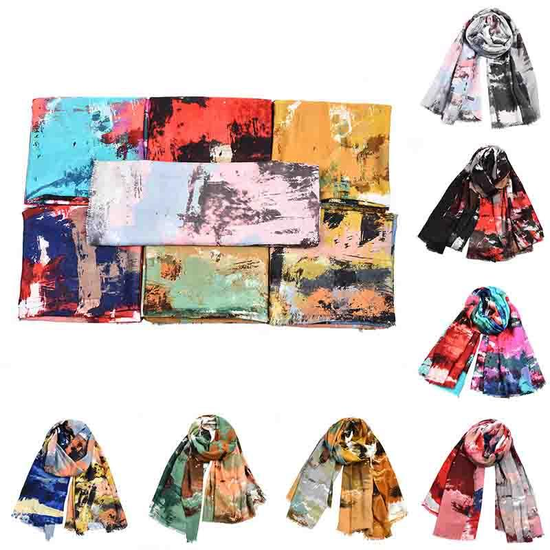 Women Scarf Graffiti Printed National Style Shawl Cotton Linen Colorful Shawl Soft Long Shawls Wraps Bohemian Scarves