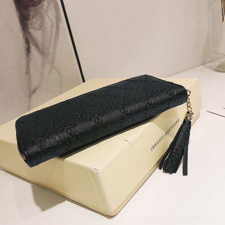 carteira longa das mulheres simples japonês e estilo simples losango borla embreagem multi-card feminino coreano de longo carteira