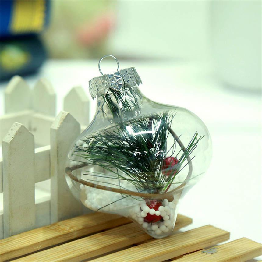 TOP Boule de Noël ornements Nouvel An Décorations transparent boule creuse boule rouge pour enfants petits cadeaux Restaurant Bar