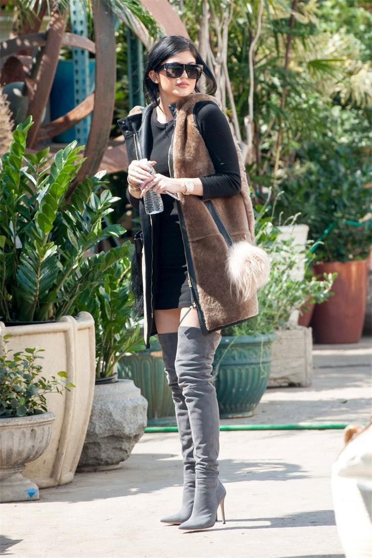 10.5cm каблуки женщин Обуви Одежда Over Knee Winter Boots Женщина Поддельной замша ботинок женщины высоких сапоги дамы снегоступы