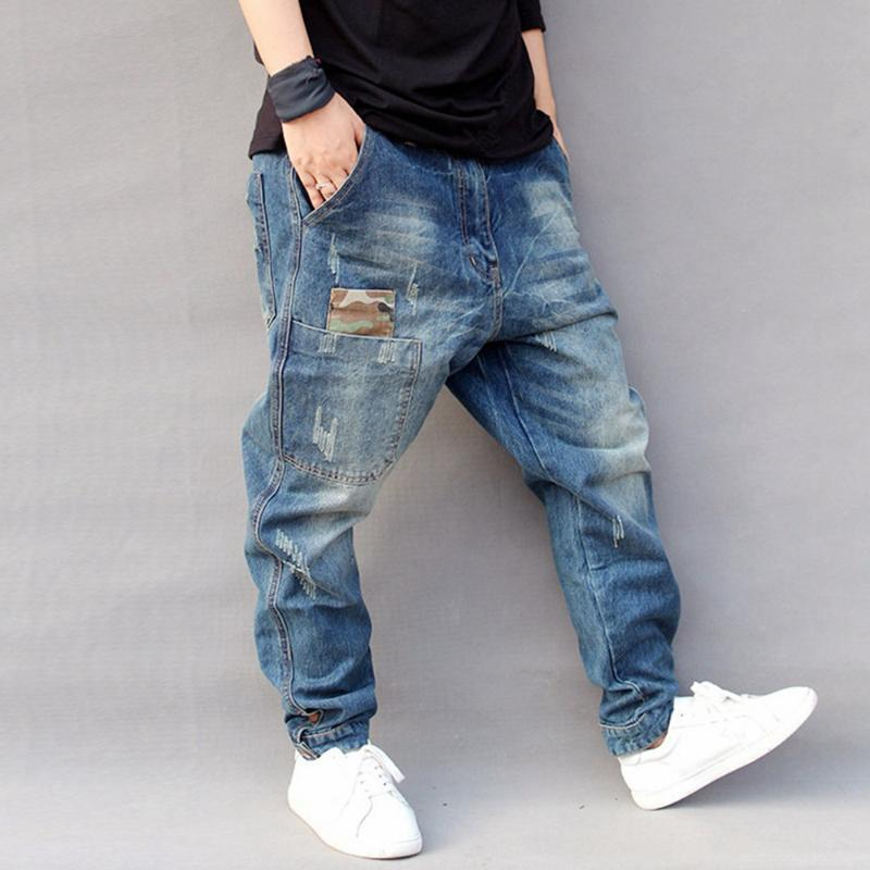 Jeans Mens Length Size Hop Pants Mid Ripped Medium Zipper Full Jeans Plus Hip Little For Loose Harem Feet Men Lugentolo Hqrlr
