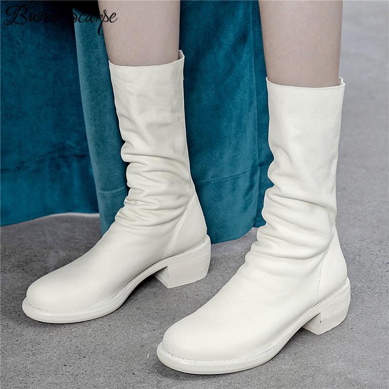 Botas de moda plisadas genuinas de cuero diseñadas con cremallera botas Chunky Botas Fenimina Zapatos de cuero Zapatos Mujer