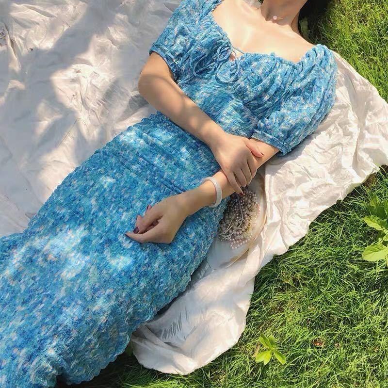 Slimmingshoulder indústria ombro emagrecimento pesado impresso francês vestido de férias praia Slimmingshoulder pesado emagrecimento fairyshoulder fadas ind
