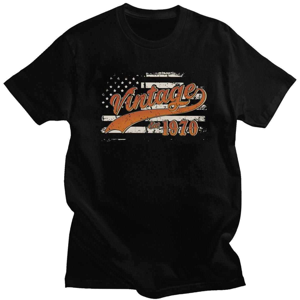 Kühle Retro Vintage Est 1970 T Shirts Männer Kurzarm Freizeit USA Flaggen-Geschenk 4. Juli T-Shirt O-Ansatz Cotton Tee Oberseiten-Kleidung