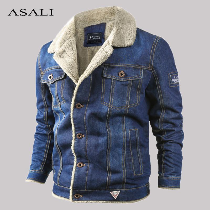Зимний теплый флис джинсовой куртки Mens Casual Pilot Bomber ковбой пальто куртки Мужской шерсти Liner Fur Толстая Жан Outwear одежды T200902