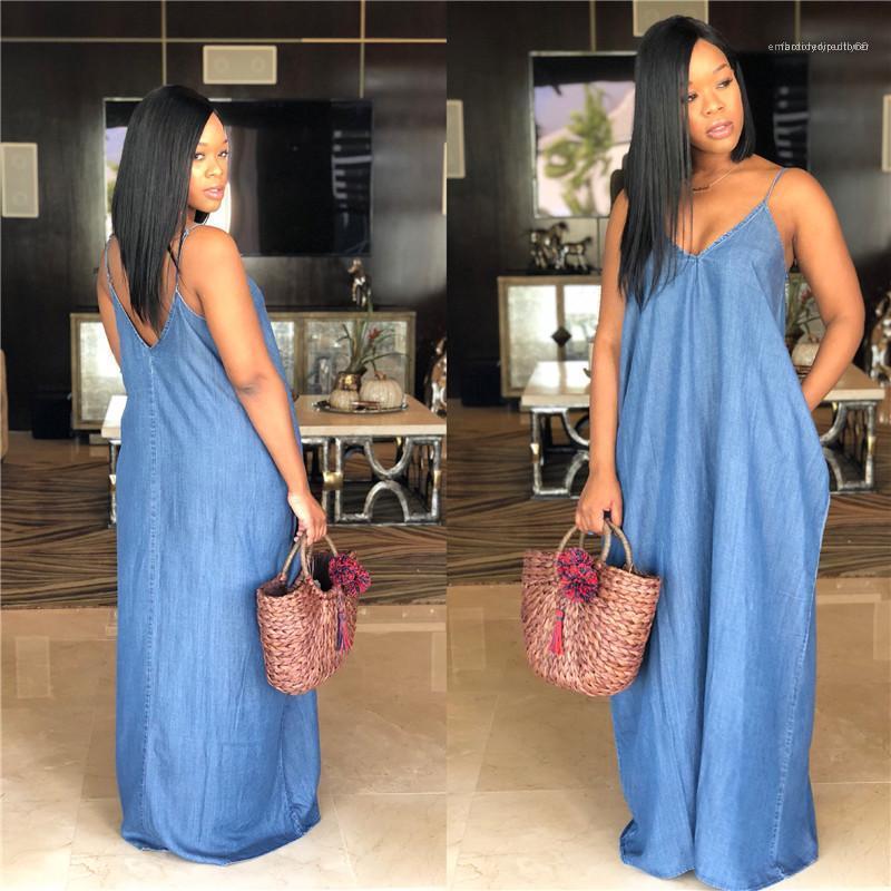 Yaz Kadın dizayn edilmiş elbiseler Derin V Yaka Spagetti Askı Katı Renk Baskılı Seksi Elbise Gevşek Kadın Giysileri