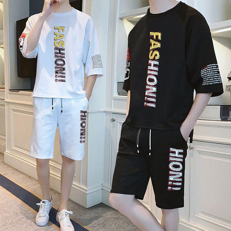 Moda Erkek eşofman 2020 Yaz Yeni Erkek Harf İki parçalı tişört Suit Casual Erkekler İnce Kısa kollu Suits Artı boyutu S-4XL yazdır