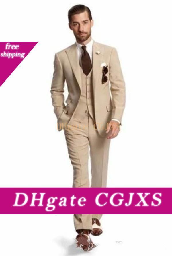 Nouveau design à deux boutons Beige smokings marié Groomsmen Le meilleur homme Costumes Hommes Costumes Blazer mariage (Veste Pantalon Gilet Tie) 1112