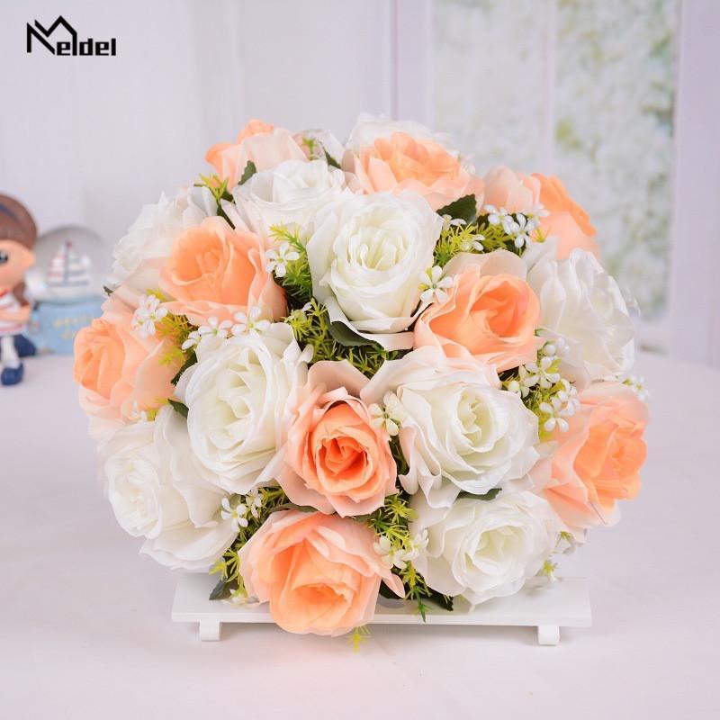 18 개 헤드 신부 들러리 장식 웨딩 꽃다발 꽃 결혼 액세서리 작은 신부 꽃다발 실크 장미 결혼식