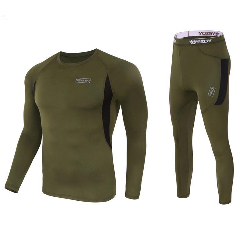 Winter Men Thermal Underwear Outdoor Fleece T Shirt Pants Suit Sports Cycling Tactical Combat Training Keep Warm Long Johns