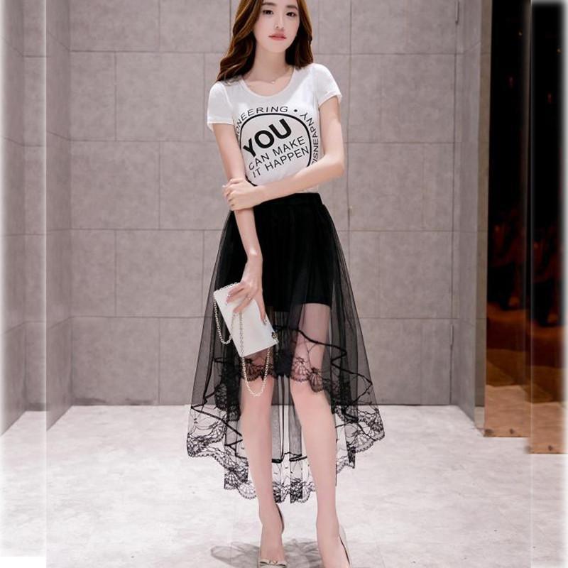 2020 Tul Faldas Mujeres Negro atractivo blanco cordón de la manera asimétrica Jupe Faldas Falda verano