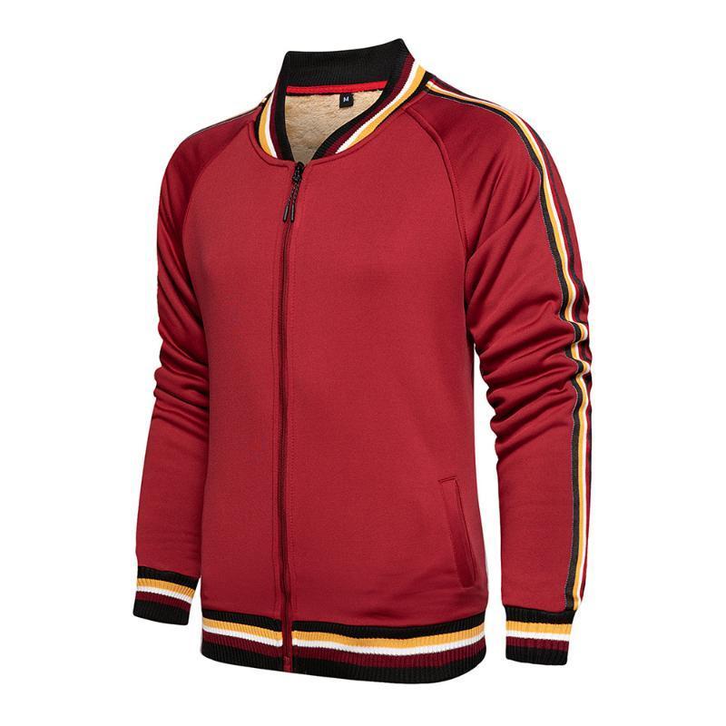 Зима Толстые Bomber Jacket Люди руно Подкладки Zipper куртка нашивка воротник с резьбой с длинным рукавом Blouson Homme Red Roupas Masculina