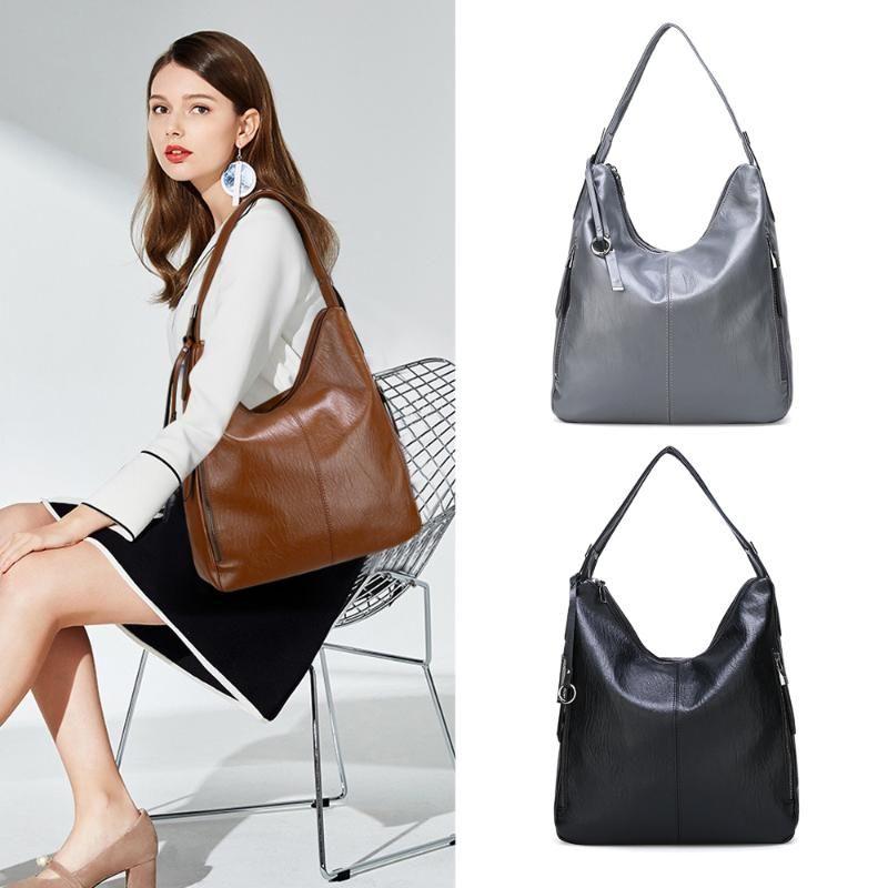 New Women Ladies Vintage Tote Bag Shoulder Women Big Bag Leather Winter Handbag 2020 Handbags Hobos Luxury Designer Boude