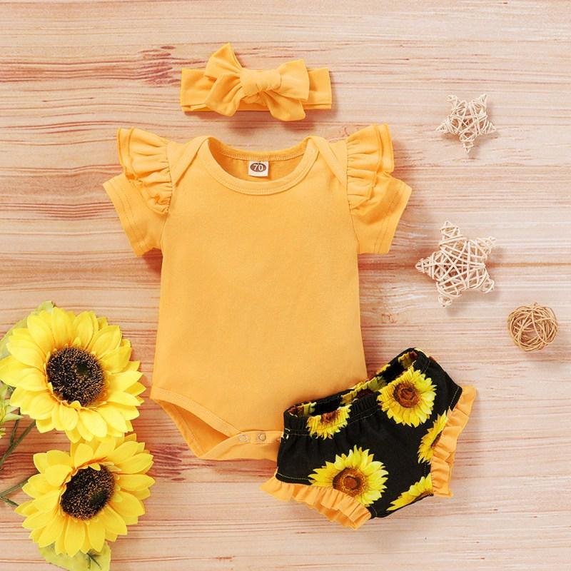 Summer Baby Girl Casual с коротким рукавом Romper Топов Цветочных шорты стяжки наряды Set Baby Girl Cute Ромперы кальсоны PP устанавливает новый