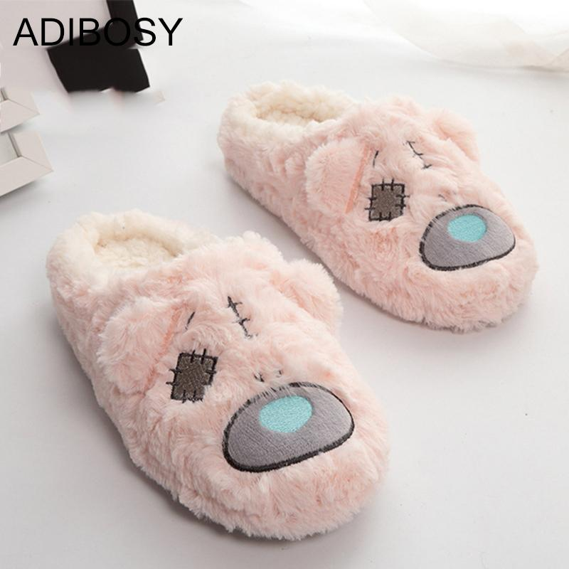 Cute Women Slippers Winter Warm Fur