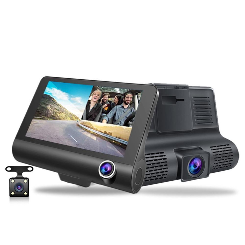 Veículo-montado 360 graus panorâmica gravador de condução 4 polegadas de alta definição de imagem escondida três gravador de três lente invertendo