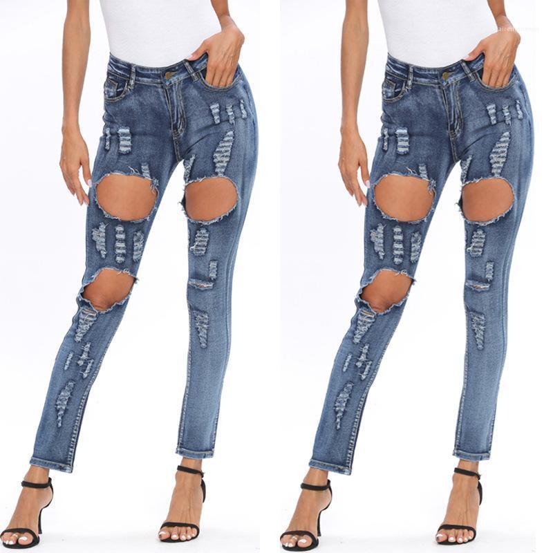 High Waist Licht gewaschene Bleistift-Hosen-Frauen arbeiten dünne Hosen der Frauen Loch Vintage Blue Jeans Frau Sommer