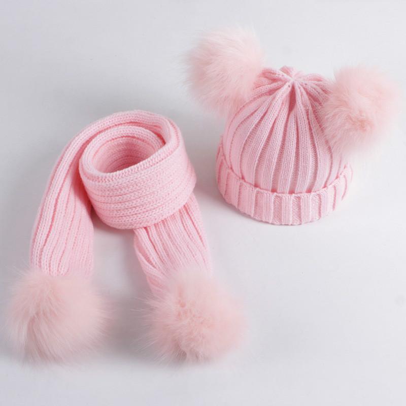 Pom Pom sombrero de la bufanda de invierno para niños Set acrílico Gorros Sombreros Piel real Pompon muchacha del sombrero casquillo caliente de punto sólido de color rosa blancos Sombreros Pañuelos