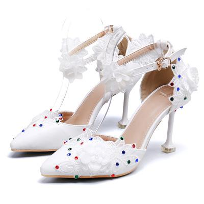 2020 белых женщин сандалии Sexy Высокие каблуки 8см Женская обувь Сандалии кружева Кристалл женские туфли принцессы платье свадьба