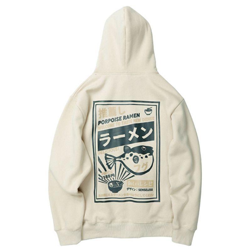 Männer Pullover Sweatshirts verdicken japanischen Stil mit Kapuze Kugelfisch Print Außensportjacke mit Hip Hop Tops