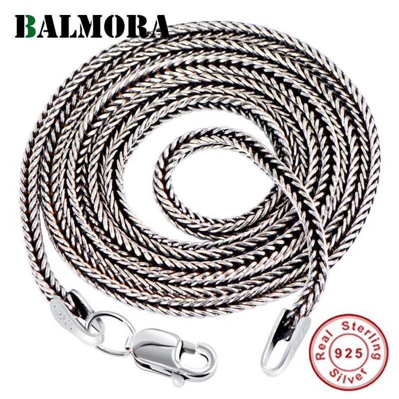 Balmora Gerçek 925 Gümüş tilki kuyruğu Zincirler Kolye Takı 16-32 İnç Y200810 için Kadınlar Erkekler için Chokers Uzun Kolyeler